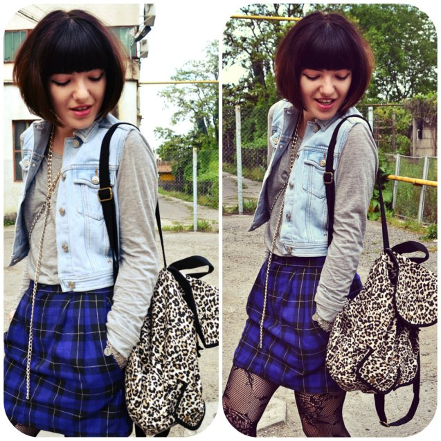 collageplaid skirt